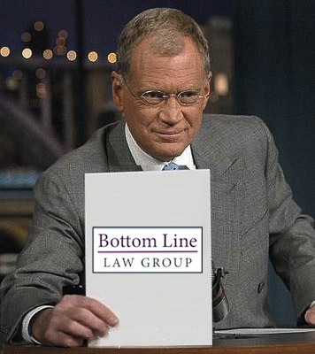 Photo of Dave Letterman altered to show BLLG logo