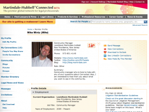 Screen shot of Martindale-Hubbell Connected