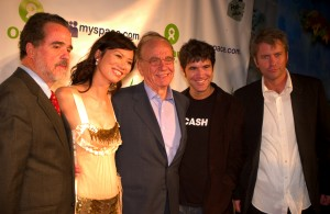Rupert Murdoch with MySpace founders Tom Anderson and Chris DeWolfe