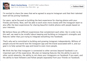 Mark Zuckerberg announces the acquisition of Instagram on his Facebook timeline